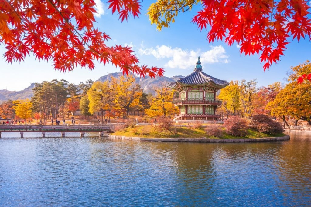 Gyeongbokgung palace with Maple leaves